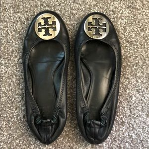 Black Tory Burch flats with silver buckle